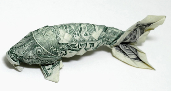 He folds money and lives in a garbage truck emails for Origami koi fish
